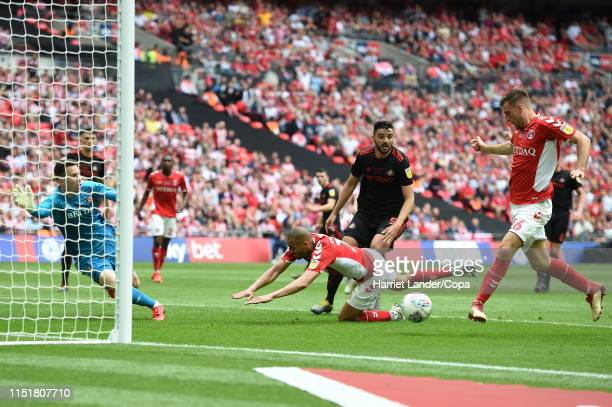 Ben Purrington of Charlton Athletic scores his team's first goal during the Sky Bet League One Playoff Final match between Charlton Athletic and...