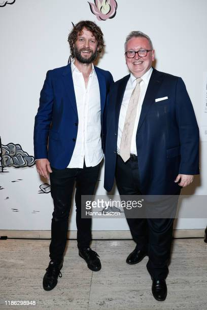 Ben Quilty and NSW Minister for the Arts Don Harwin attends the Ben Quilty Exhibition opening at the Art Gallery Of NSW on November 08, 2019 in...
