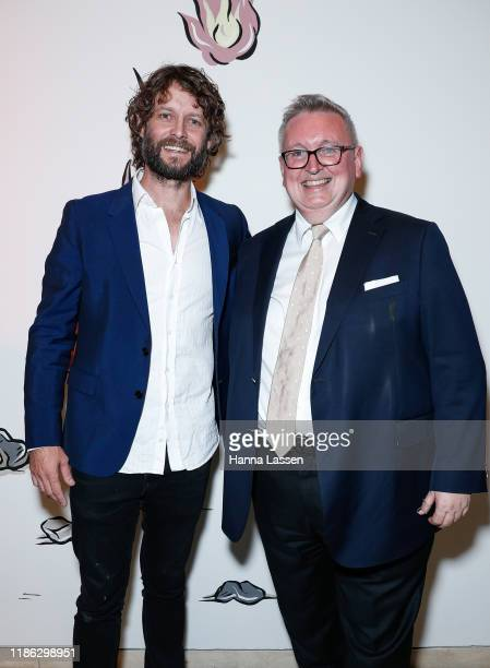 Ben Quilty and NSW Minister for the Arts Don Harwin attends the Ben Quilty Exhibition opening at the Art Gallery Of NSW on November 08 2019 in Sydney...