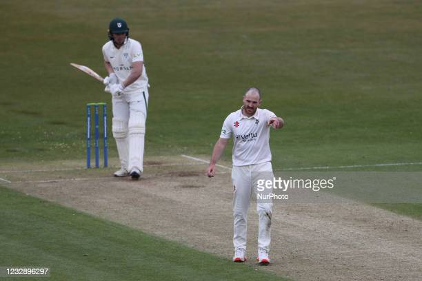 Ben Raine of Durham during the LV= County Championship match between Durham County Cricket Club and Worcestershire at Emirates Riverside, Chester le...