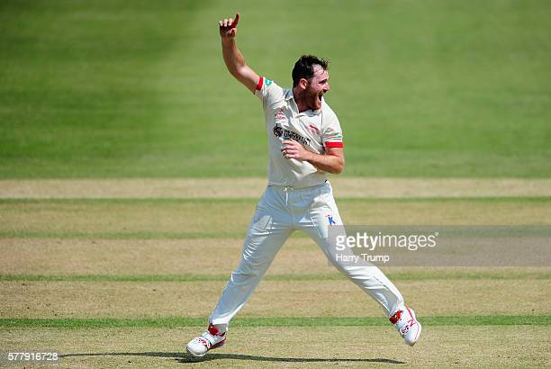 Ben Raine of Leicestershire appeals during Day One of the Specsavers County Championship Division Two match between Gloucestershire and...