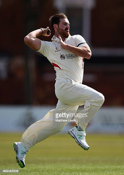 Ben Raine of Leicestershire in action during day one of the LV County Championship match between Leicestershire and Glamorgan at Grace Road on April...