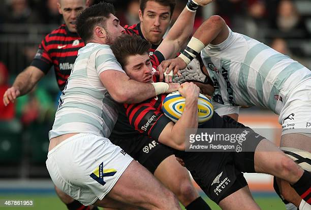 Ben Ransom of Saracens takes on the London Irish defence during the Aviva Premiership match between Saracens and London Irish at Allianz Park on...
