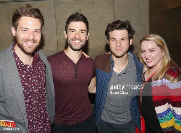 Ben Rappaport Adam Kantor Etai Benson and Megan Kane pose backstage at the hit musical 'The Band's Visit' on Broadway at The Barrymore Theatre on May...