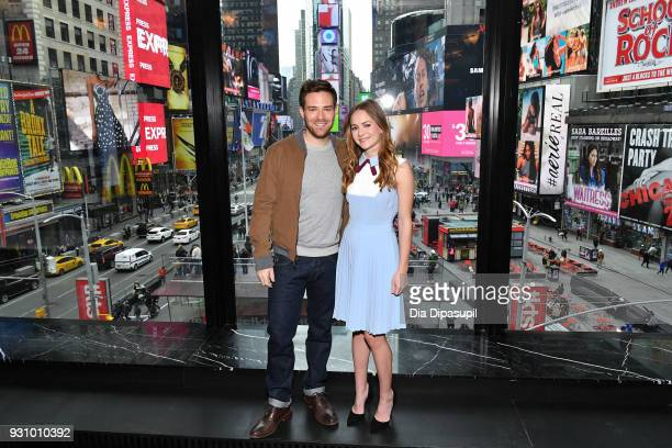 Ben Rappaport and Britt Robertson visit 'Extra' at their New York studios at the Renaissance New York Times Square Hotel on March 12 2018 in New York...