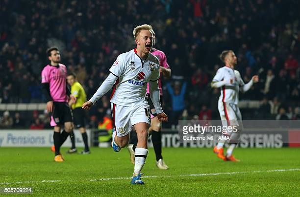 Ben Reeves of MK Dons celebrates after he scores to make it 10 during the Emirates FA Cup match between MK Dons and Northampton Town at Stadium mk on...