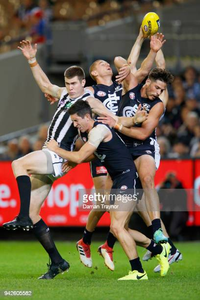 Ben Reid of the Magpies marks the ball during the round three AFL match between the Carlton Blues and the Collingwood Magpies at Melbourne Cricket...