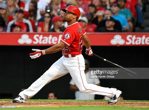 Ben Revere of the Los Angeles Angels at bat in the game against the Washington Nationals at Angel Stadium of Anaheim on July 19 2017 in Anaheim...