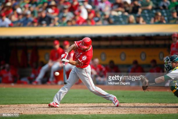 Ben Revere of the Los Angeles Angels of Anaheim bats during the game against the Oakland Athletics at the Oakland Alameda Coliseum on September 4...