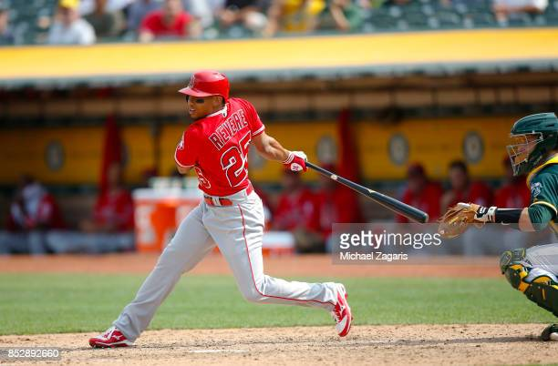 Ben Revere of the Los Angeles Angels of Anaheim bats during the game against the Oakland Athletics at the Oakland Alameda Coliseum on September 6...