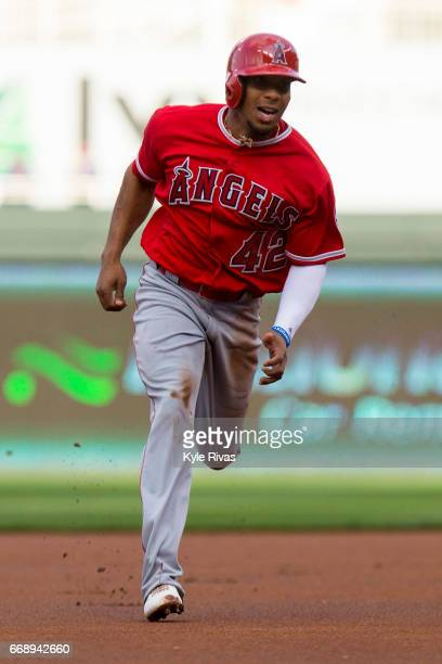 Ben Revere of the Los Angeles Angels of Anaheim rounds second and heads to third against the Kansas City Royals at Kauffman Stadium on April 15 2017...