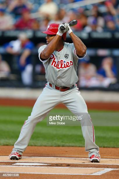 Ben Revere of the Philadelphia Phillies in action against the New York Mets on July 28 2014 at Citi Field in the Flushing neighborhood of the Queens...
