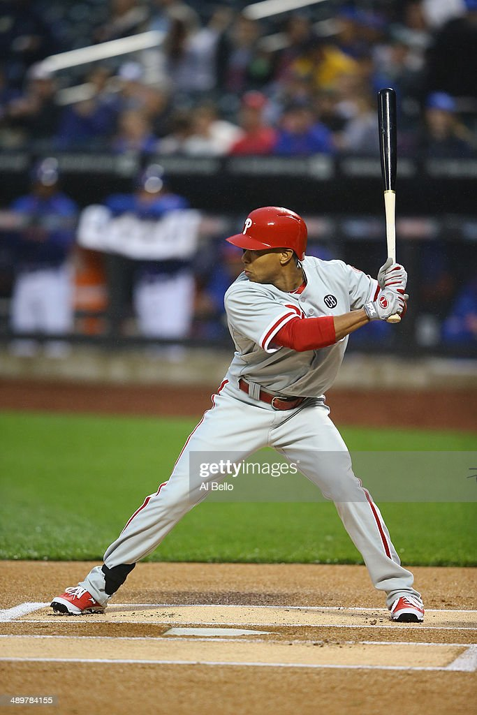 Ben Revere #2 of the Philadelphia Phillies in action against the New York Mets during their game on May 9, 2014 at Citi Field in the Flushing neighborhood of the Queens borough of New York City.