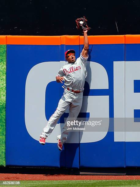 Ben Revere of the Philadelphia Phillies makes a fourth inning catch on a ball hit by Lucas Duda of the New York Mets at Citi Field on July 30 2014 in...