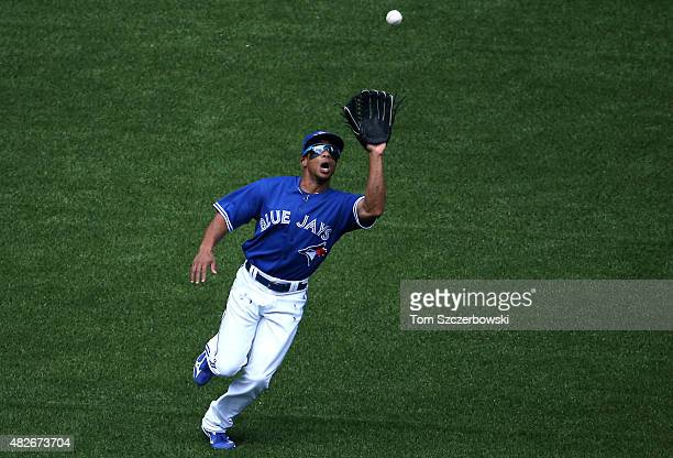 Ben Revere of the Toronto Blue Jays catches a fly ball in the eighth inning during MLB game action against the Kansas City Royals on August 1 2015 at...