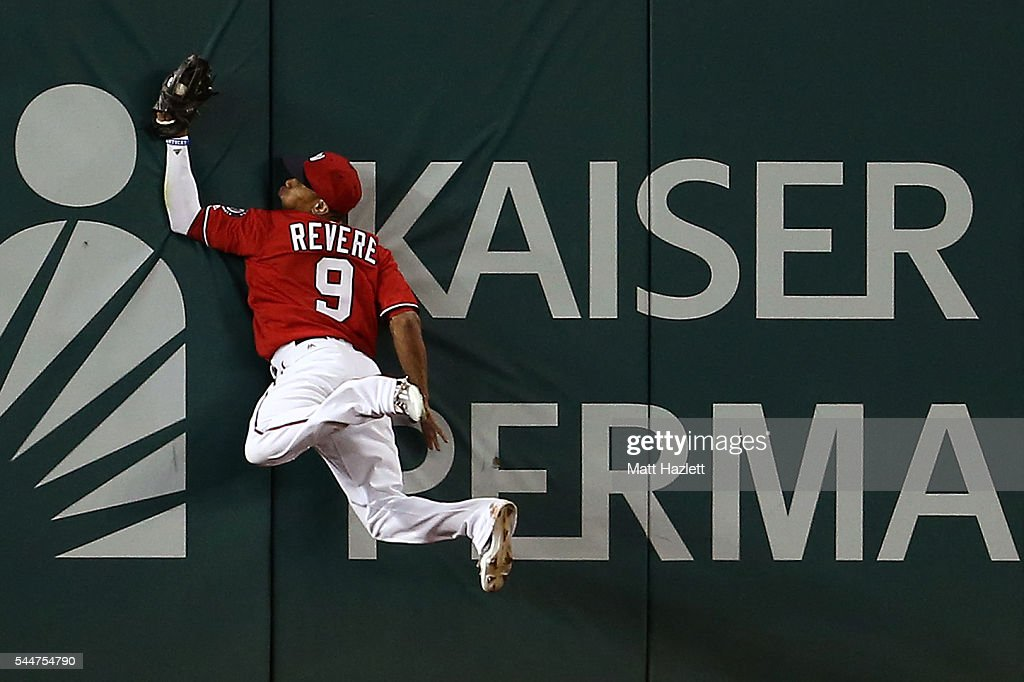 Ben Revere #9 of the Washington Nationals makes a catch for the third out of the sixth inning against the Cincinnati Reds at Nationals Park on July 2, 2016 in Washington, DC.