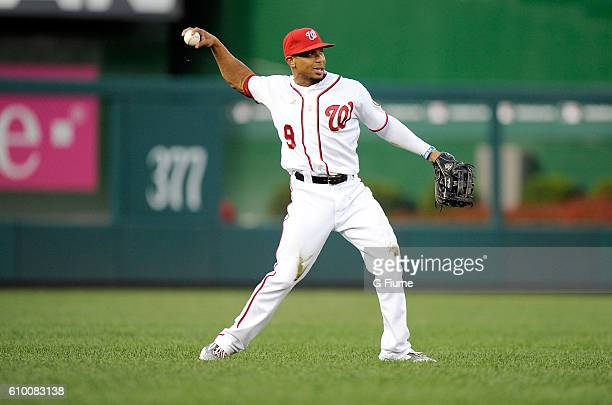 Ben Revere of the Washington Nationals throws the ball in from the outfield during the game against the Philadelphia Phillies at Nationals Park on...