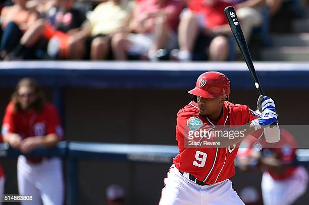 Ben Revere of the Washington Nationals waits for a pitch during the first inning of a spring training game against the New York Mets at Space Coast...