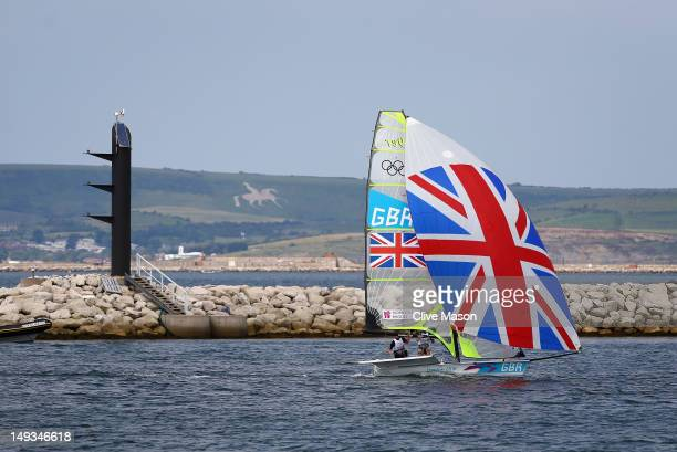 Ben Rhodes and Stevie Morrison of Great Britain during training at the Weymouth Portland Venue ahead of the London 2012 Olympic Games on July 27 2012...