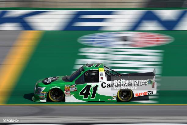 Ben Rhodes ThorSport Racing Ford F150 crosses the start/finish line during practice for the NASCAR Camping World Truck Series Buckle Up In Your Truck...