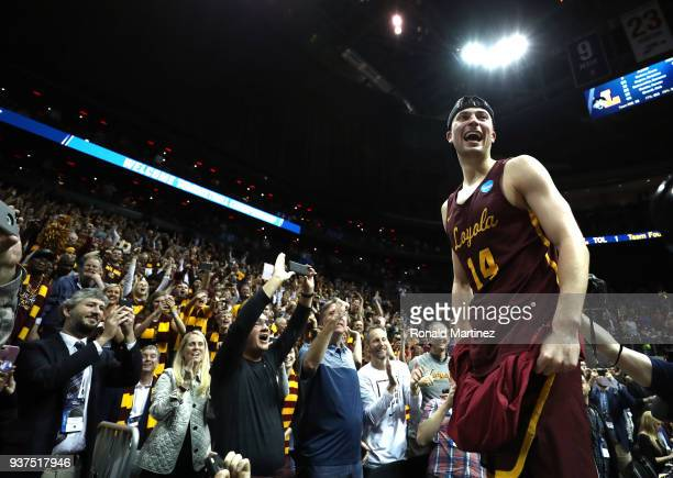 Ben Richardson of the Loyola Ramblers celebrates after defeating Kansas State Wildcats during the 2018 NCAA Men's Basketball Tournament South...