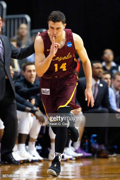 Ben Richardson of the Loyola Ramblers reacts after a basket in the first half against the Kansas State Wildcats during the 2018 NCAA Men's Basketball...