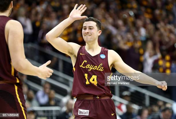 Ben Richardson of the Loyola Ramblers reacts after a play in the first half against the Kansas State Wildcats during the 2018 NCAA Men's Basketball...