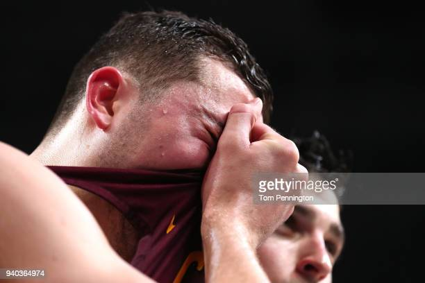 Ben Richardson of the Loyola Ramblers reacts after being defeated by the Michigan Wolverines during the 2018 NCAA Men's Final Four Semifinal at the...