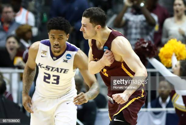 Ben Richardson of the Loyola Ramblers reacts after making a basket in the second half against the Kansas State Wildcats during the 2018 NCAA Men's...