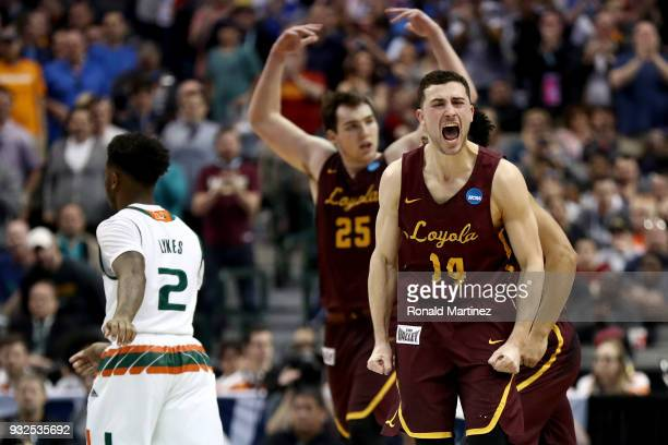 Ben Richardson of the Loyola Ramblers reacts after making a three in the second half against the Miami Hurricanes in the first round of the 2018 NCAA...