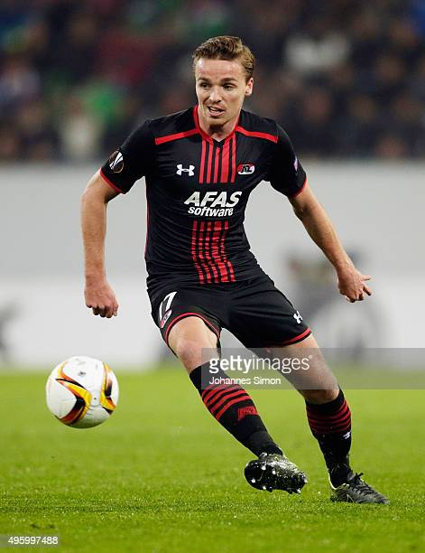Ben Rienstra of Augsburg in action during the UEFA Europa League group L football match between FC Ausburg and AZ Alkmaar at WWK Arena on November 5...