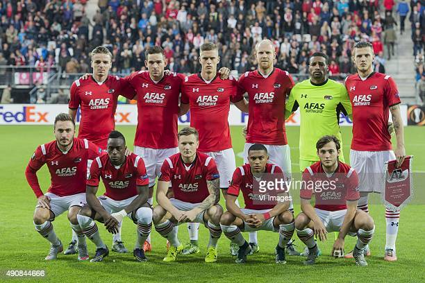 Ben Rienstra of AZ Alkmaar, Vincent Janssen of AZ Alkmaar, Markus Henriksen of AZ Alkmaar, Jop van der Linden of AZ Alkmaar, Goalkeeper Gino Coutinho...