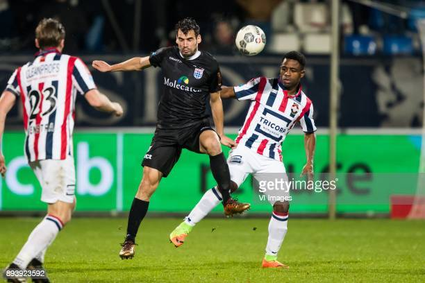 Ben Rienstra of Willem II Dirk Marcellis of PEC Zwolle Bartholomew Ogbeche of Willem II during the Dutch Eredivisie match between Willem II Tilburg...