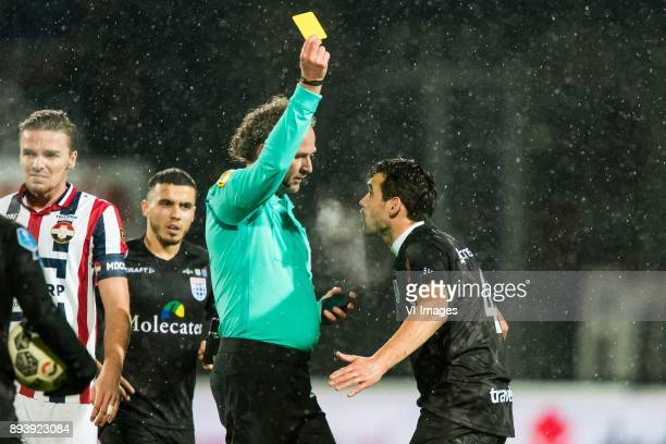 Ben Rienstra of Willem II Mustafa Saymak of PEC Zwolle referee Reinold Wiedemeijer Dirk Marcellis of PEC Zwolle during the Dutch Eredivisie match...