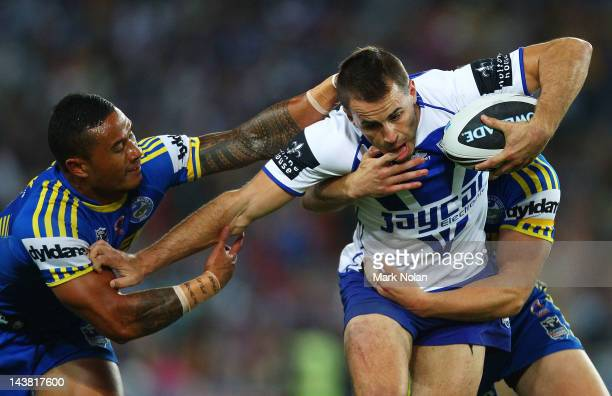 Ben Roberts of the Eels tackles Josh Reynolds of the Bulldogs during the round nine NRL match between the Parramatta Eels and the Canterbury Bulldogs...