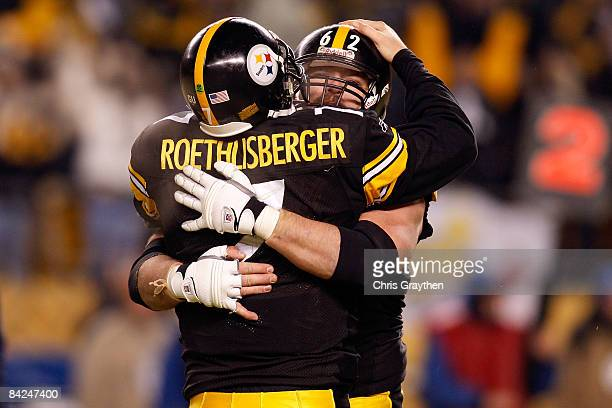 Ben Roethlisberger and Justin Hartwig of the Pittsburgh Steelers celebrate after Willie Parker scored a 16yard rushing touchdown in the fourth...