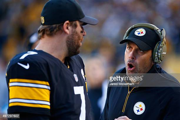 Ben Roethlisberger and Offensive Coordinator Todd Haley of the Pittsburgh Steelers talk on the sideline during the 4th quarter of the game at Heinz...