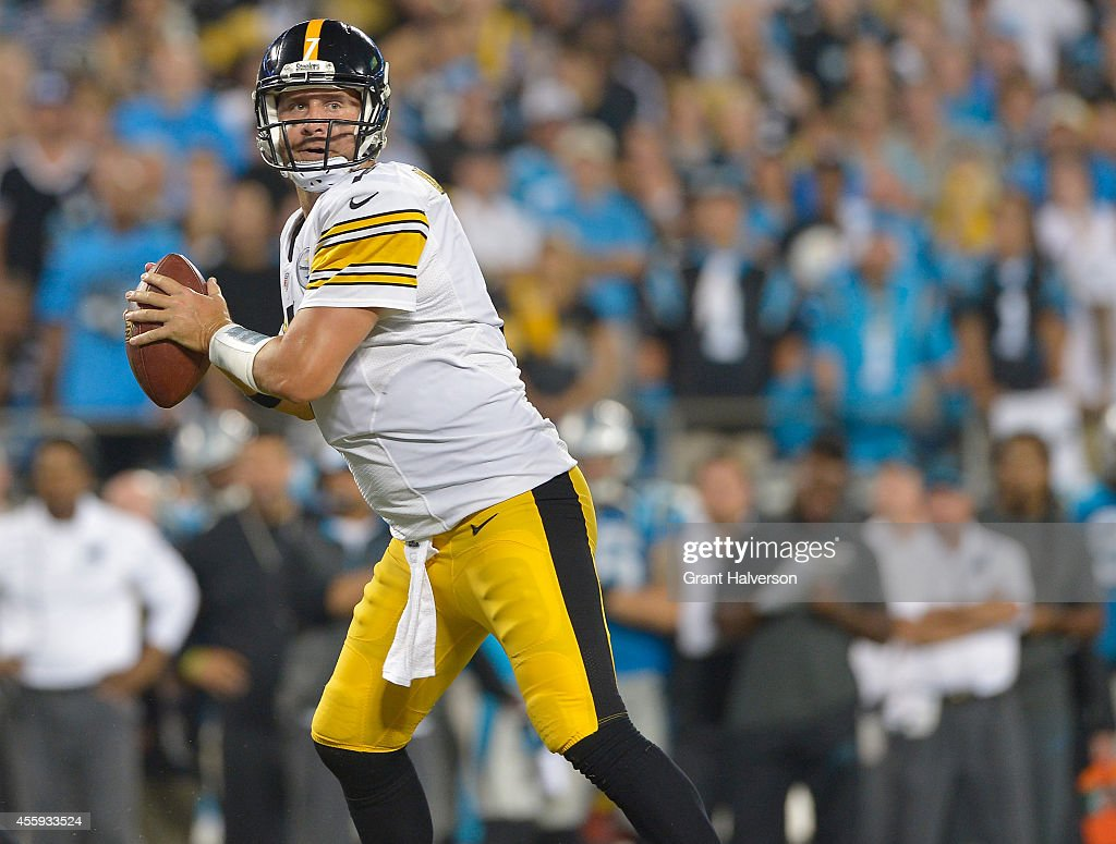 Ben Roethlisberger #7 of the Pittsburgh Steelers against the Carolina Panthers during their game at Bank of America Stadium on September 21, 2014 in Charlotte, North Carolina. The Steelers won 37-19.