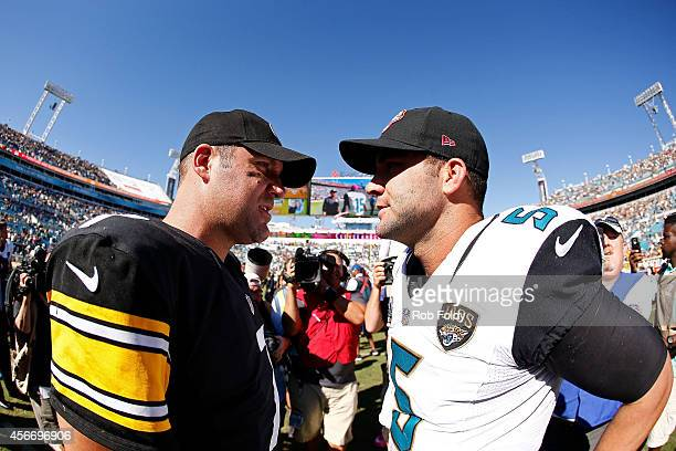 Ben Roethlisberger of the Pittsburgh Steelers and Blake Bortles of the Jacksonville Jaguars meet on the field after the game at EverBank Field on...