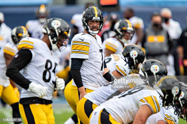 Ben Roethlisberger of the Pittsburgh Steelers at the line of scrimmage during a game against the Tennessee Titans at Nissan Stadium on October 25,...