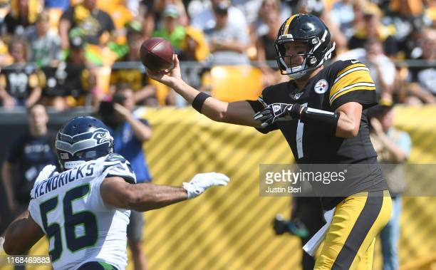 Ben Roethlisberger of the Pittsburgh Steelers attempts a pass as Mychal Kendricks of the Seattle Seahawks defends in the first quarter during the...