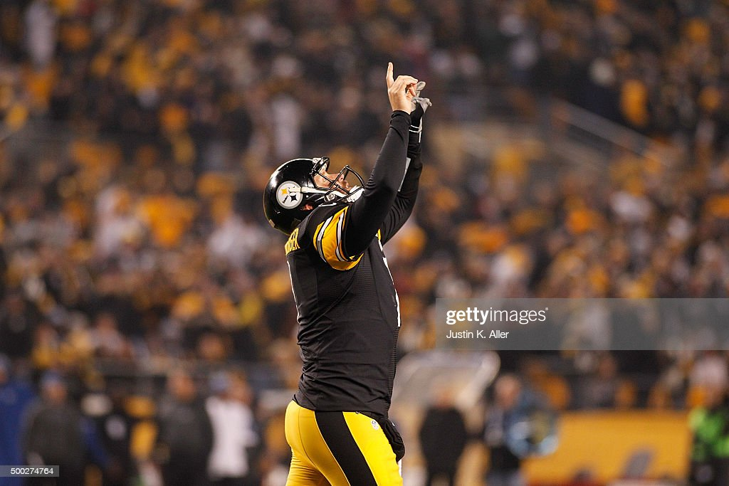Ben Roethlisberger #7 of the Pittsburgh Steelers celebrates a second quarter touchdown during the game against the Indianapolis Colts at Heinz Field on December 6, 2015 in Pittsburgh, Pennsylvania.