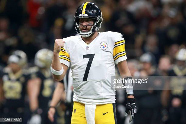Ben Roethlisberger of the Pittsburgh Steelers celebrates during the first half against the New Orleans Saints at the MercedesBenz Superdome on...
