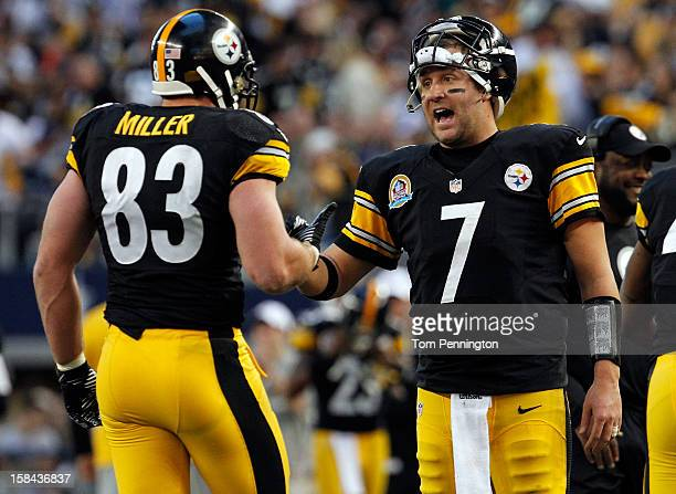 Ben Roethlisberger of the Pittsburgh Steelers celebrates with Heath Miller of the Pittsburgh Steelers after Miller scored against the Dallas Cowboys...