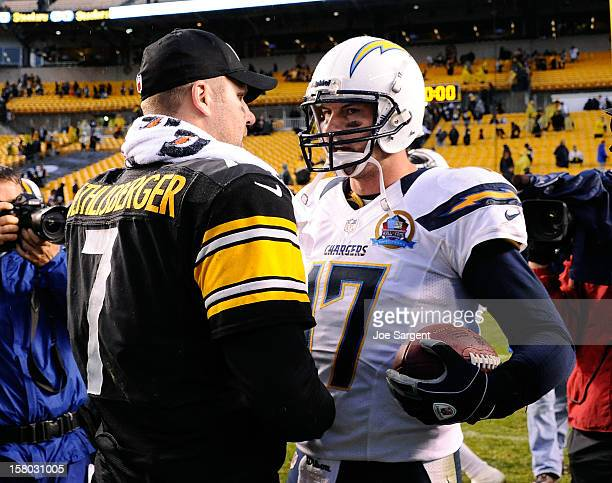 Ben Roethlisberger of the Pittsburgh Steelers congratulates Philip Rivers of the San Diego Chargers after the game on December 9 2012 at Heinz Field...
