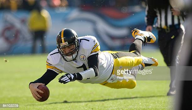 Ben Roethlisberger of the Pittsburgh Steelers dives for a first down against the Tennessee Titans on December 21, 2008 at LP Field in Nashville,...