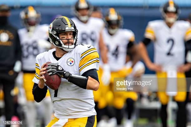 Ben Roethlisberger of the Pittsburgh Steelers drops back to pass during a game against the Tennessee Titans at Nissan Stadium on October 25, 2020 in...