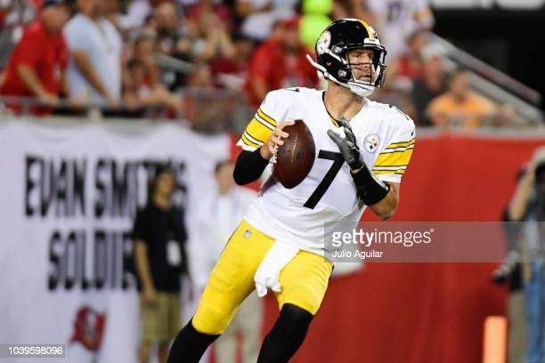 Ben Roethlisberger of the Pittsburgh Steelers drops back to pass in the first quarter against the Tampa Bay Buccaneers on September 24, 2018 at...