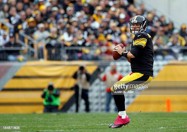 Ben Roethlisberger of the Pittsburgh Steelers drops back to pass against the Philadelphia Eagles during the game on October 7 2012 at Heinz Field in...