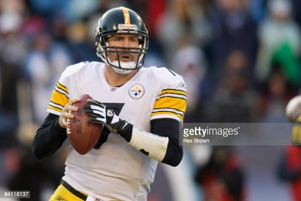 Ben Roethlisberger of the Pittsburgh Steelers drops back to pass during the second half against the Tennessee Titans on December 21, 2008 at LP Field...